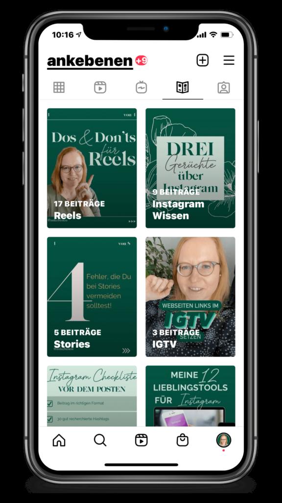 Instagram Guides Überblick Handy